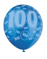 100th Birthday Blue Glitz Latex Balloons 12 inch